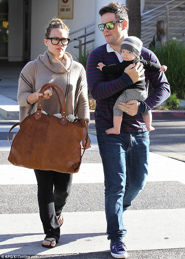 What a cutie: Hilary, Mike and baby Luca enjoyed the Los Angeles sunshine together