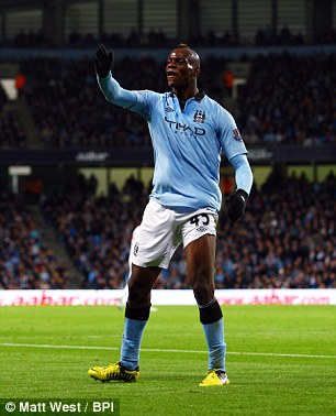 Mario Balotelli of Manchester City, who has been nominated for the Ballon D'Or