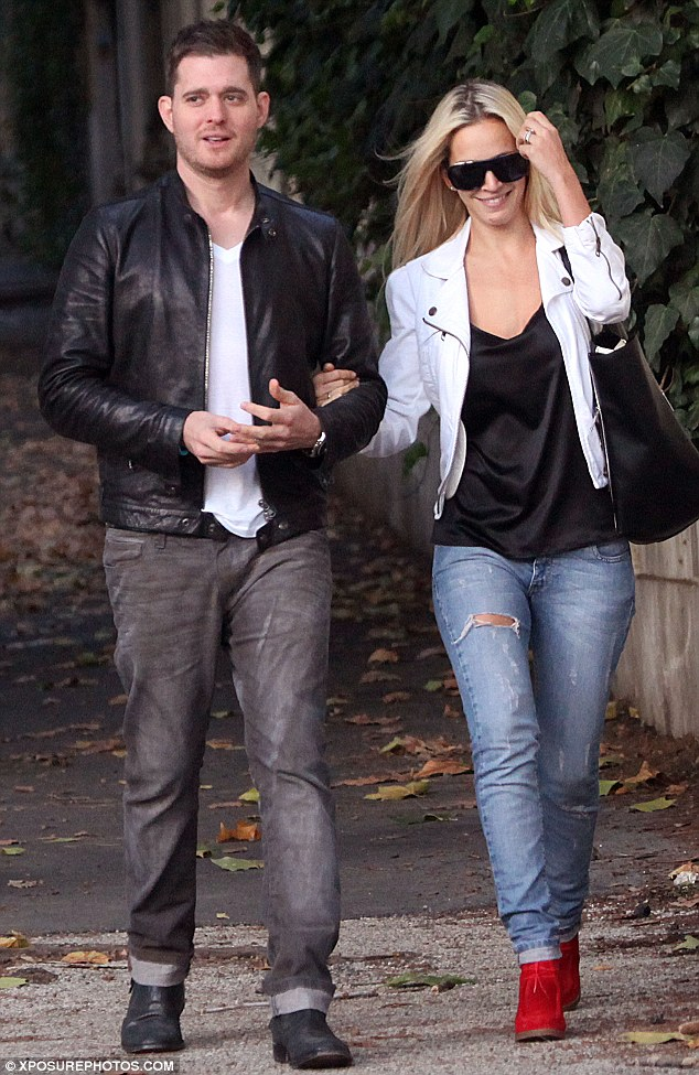 Going for the same look:  Michael Buble and his wife Luisana Lopilato went opt for a similar style during a day out in Rome