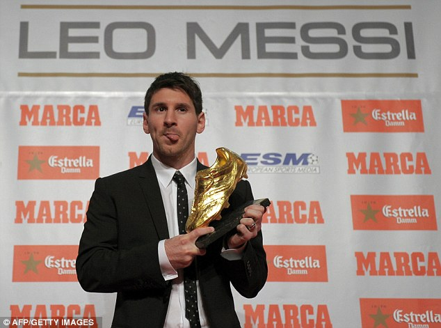 Golden Boy: Lionel Messi has been shortlisted for the Ballon D'Or but he's already won the Golden Boot for being Europe's top goalscorer last season
