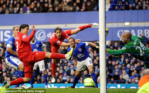 Ruled out: This goal was chalked off as the official believed Suarez had strayed offside