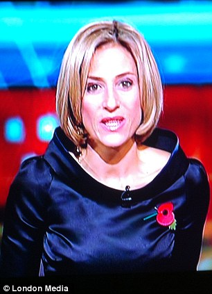 Style steal? Emily Maitlis' dress was likened to a Sontaran from TV show Doctor Who as she presented the news last night