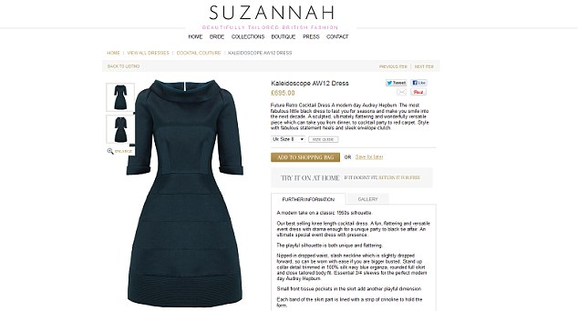 Get the look: The dress can be bought from Suzannah Crabb's online boutique for £695