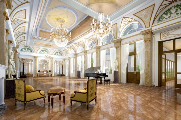 Sheer elegance: The home's ballroom will boast shiny wooden floors, a gigantic chandelier and floor to ceiling windows