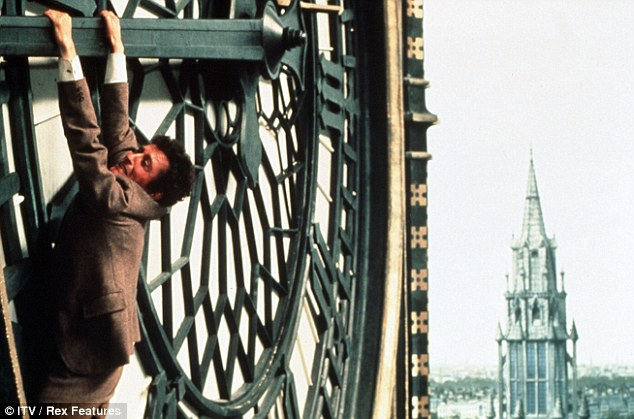 Starring role: The clock has played a central role in many films ¿ most notably the 1978 version of the Thirty Nine Steps, in which the hero is seen hanging from its hands