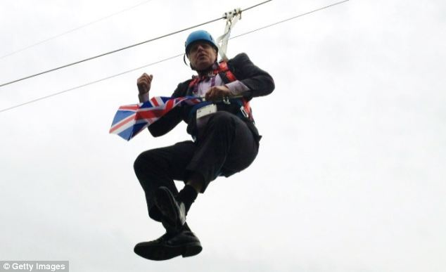 Mr Johnson bolstered his reputation as a Tory high flier after getting stuck on a zipwire in London's Victoria Park when a stunt promoting the Olympics went awry