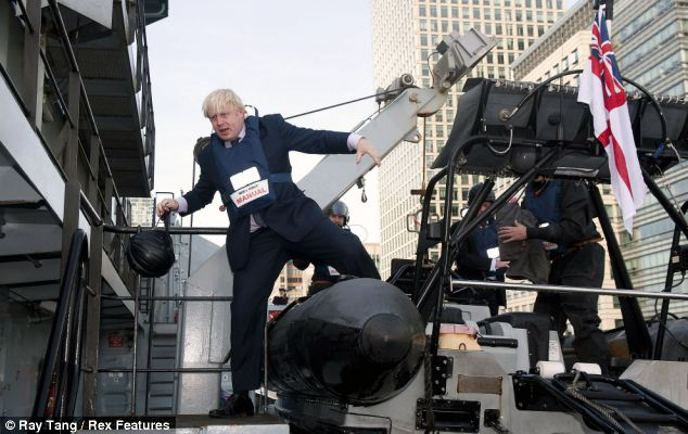 The RIB was winched out of the water to allow the London Mayor to climb aboard HMS Severn with his usual style and grace
