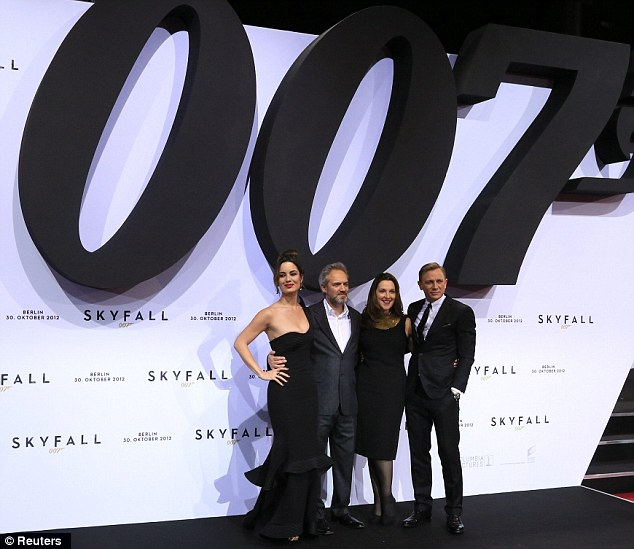 Happy families: Berenice, director Sam Mendes, producer Barbara Broccoli, and James Bond himself looked happy and relaxed as they brought the latest film in the 007 franchise to Berlin