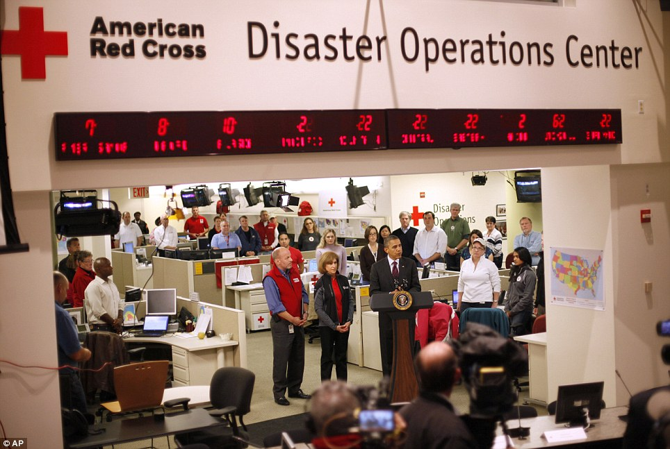 Speech: President Obama talks during his visit to the Disaster Operation Center of the Red Cross National HQ to discuss Superstorm Sandy on Tuesday