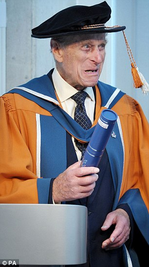 The Duke of Edinburgh received the honorary doctorate in recognition of his decorated career in the Royal Navy