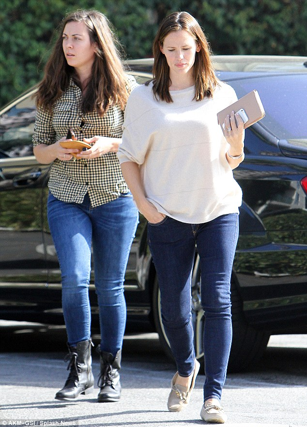 Natural beauty: Jennifer wore barely any make-up during her outings on Tuesday