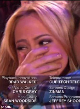 Sobbing: The former Disney actress breaks down in the arms of her dance partner Louis Van Amstel after