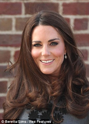 The hair apparent: Kate's mane has been voted top of a list of celebrity locks of which women are most envious
