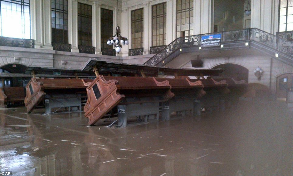 Storm shutdown: Substantial damage was done Hoboken Terminal in New Jersey as mass transit systems were shutdown as a result of the storm