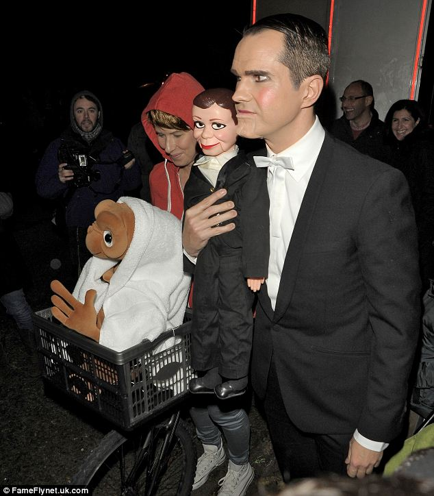 Jimmy Carr dressed as a ventriloquist with a dummy that looked like him
