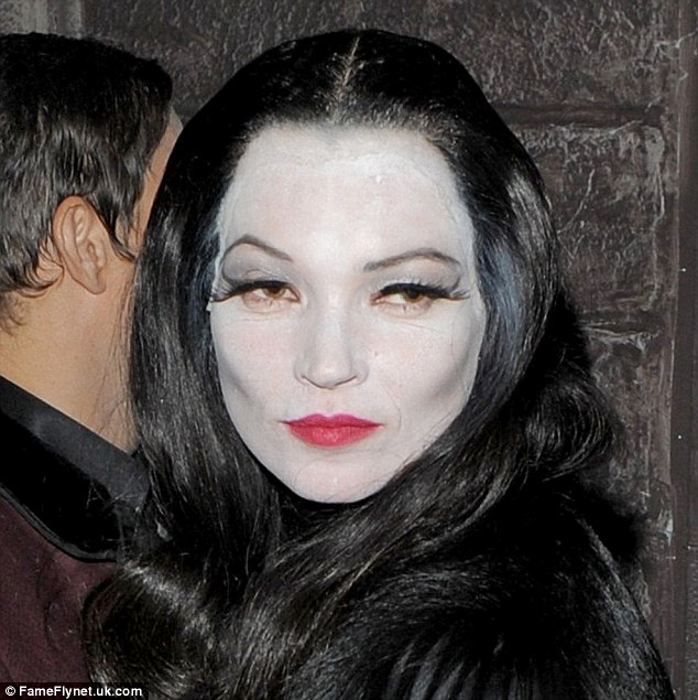 Morticia: Kate looked great as Morticia in a black wig and her trademark eyeliner