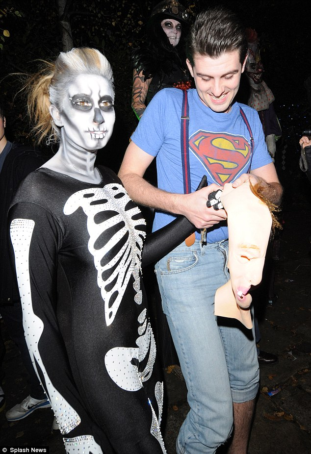 Skin and bones: Stacey Solomon wears an all-in-one skeleton costume and goes all out with the face paint