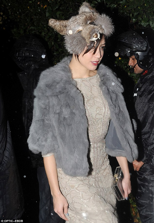 Foxy headwear: Daisy Lowe popped a fox head over her dark hair for the spooked bash