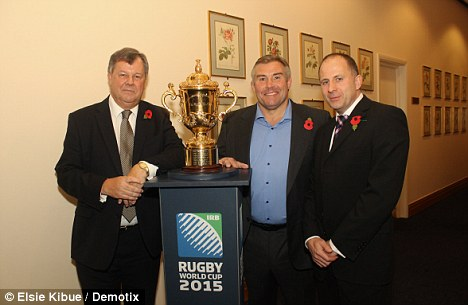 Making it count: RFU chief executive Ian Ritchie, England's World Cup winner Jason Leonard and Rugby Development Director Steve Grainger with the Webb Ellis trophy