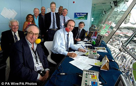 Front row, from left, Henry Blofeld, Jonathan Agnew and scorer Bill Frindall. Back row from left, producer Peter Baxter, assistant producer Shilpa Patel, Vic Marks, Mike Selvey, Christopher Martin-Jenkins, Colin Croft and Tony Cozier