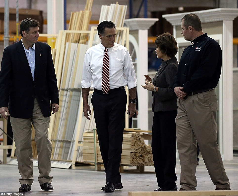 Visit: Virginia's Republican senator, George Allen (left), and the party's presidential candidate, Mitt Romney (second from left), take a tour of Integrity Windows in Roanoke