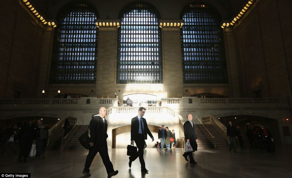 Filling up: With some trains back up and running into Grand Central, the terminal has stopped looking like a ghost town