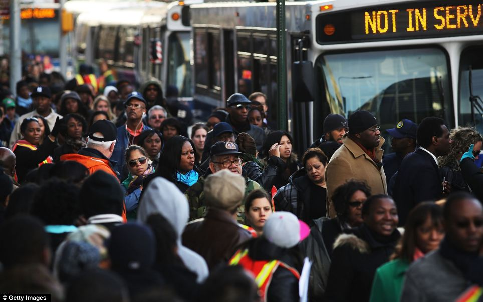 Late for work: Things were not much better on the buses, with thousands of New Yorkers trying to find an alternative to the subway to get them into Manhattan