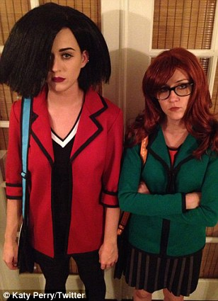 Bold and bright: Katy dressed as Jane Lane and her friend Shannon Woodward was Daria from the MTV cartoon series