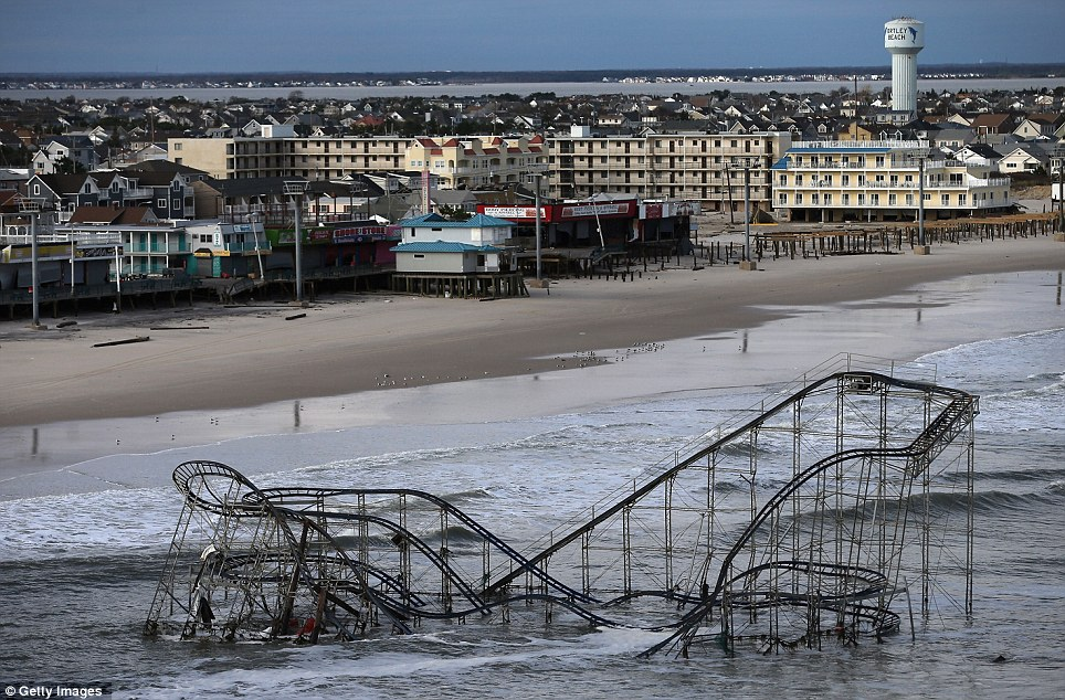 Devastation: The well-known town and historic boardwalk of Seaside Heights, New Jersey, made famous the world over by MTV's Jersey Shore, has been almost totally wiped out by Hurricane Sandy