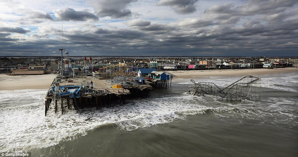Storm surges: At least 50 people were reportedly killed in the U.S. by Sandy with New Jersey suffering massive damage and power outages