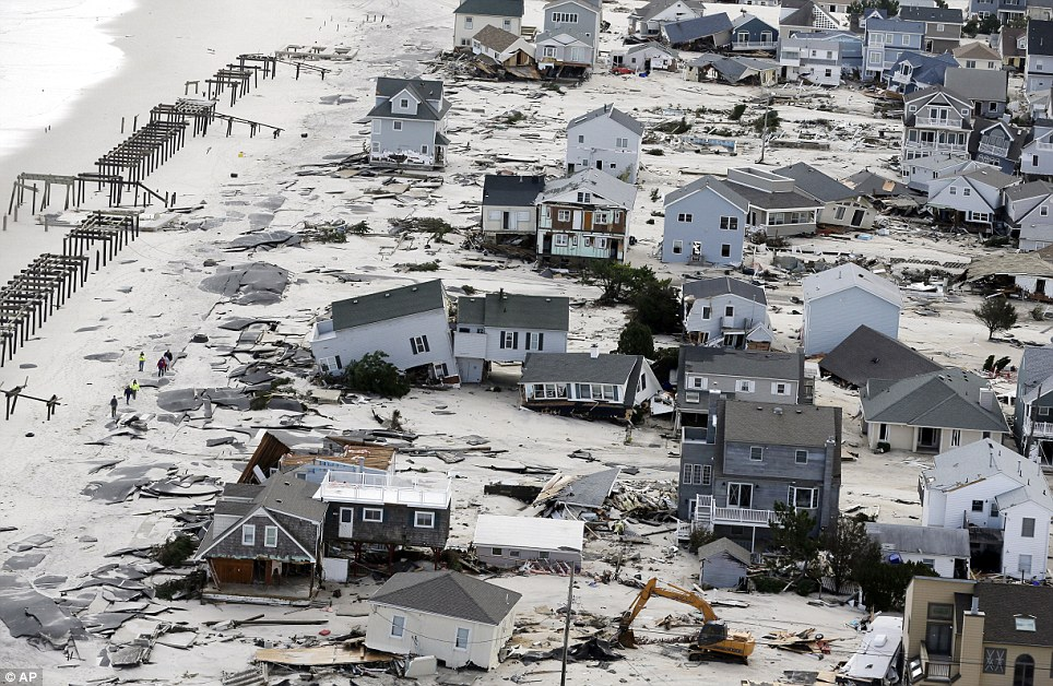 Houses destroyed: This aerial photo shows destruction in the wake of superstorm Sandy on Wednesday