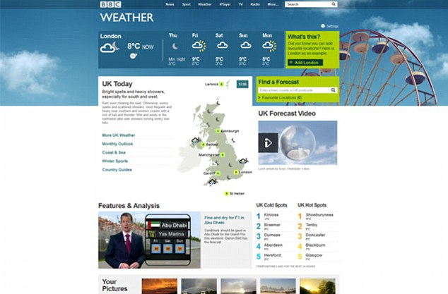 A screen grab from the BBC weather website