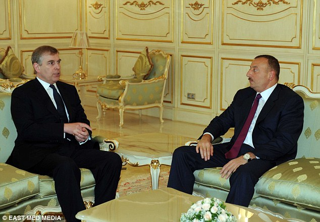 Questionable friendship: Prince Andrew (left) has faced criticism for his continued relationship with Azerbaijani despot Ilham Aliyev (right) since stepping down as the UK's trade envoy