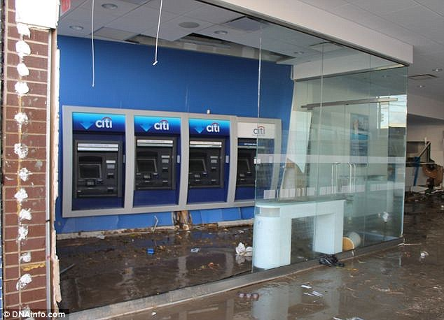 Banking facilities unavailable: A Citibank on Coney Island was destroyed by Hurricane Sandy