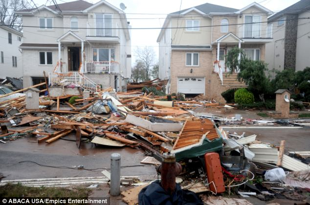 Staten Island was severely damaged by strong winds and flood coming from the ocean