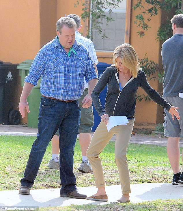 Rehearsing: The Modern Family stars practiced their footwork, with Julie appearing to trip Eric