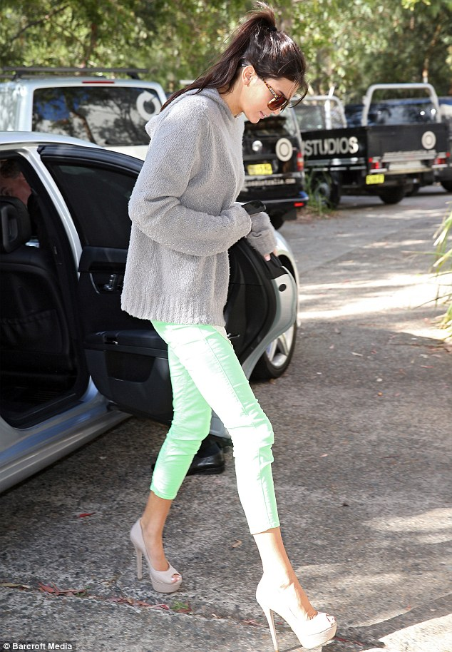 Tall girl: Kendall Jenner steps out in Australia in a pair of seriously high nude peep toe shoes