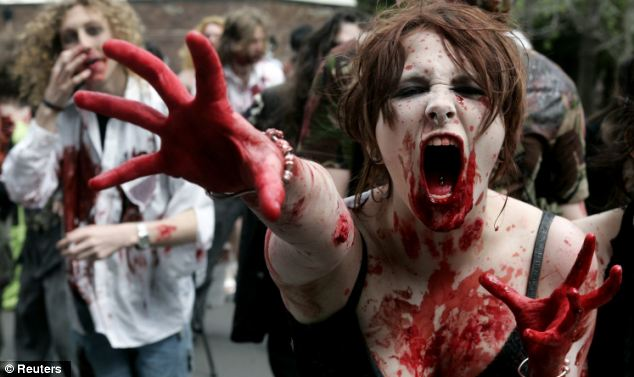 The woman was covered in white facepaint and fake blood, much like this woman (file picture)