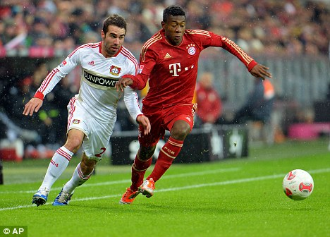 Offended: Austria defender David Alaba (right) in action for Bayern Munich