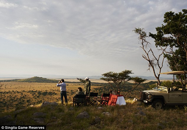African escape: The lovebirds enjoyed adventurous game drives with professional guides and a picturesque hot air balloon safari across the sprawling plains of the Serengeti