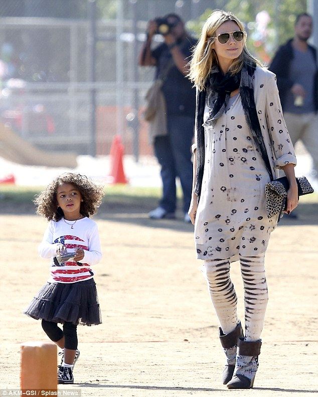 Stars and stripes: Heidi had dressed her three-year-old in an American Flag T-shirt and a black ra-ra skirt