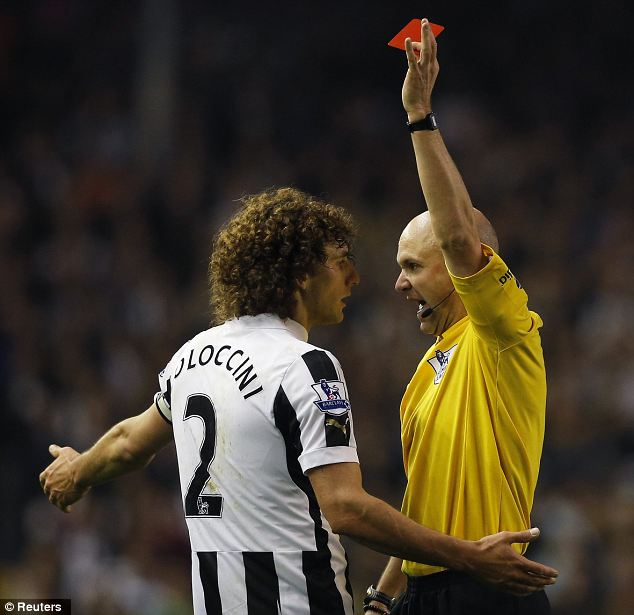 Get off: Coloccini is ordered from the field by referee Anthony Taylor