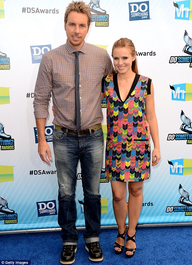 Expectant couple: The actress and comedian Dax Shepard, pictured in August, have been dating since 2007