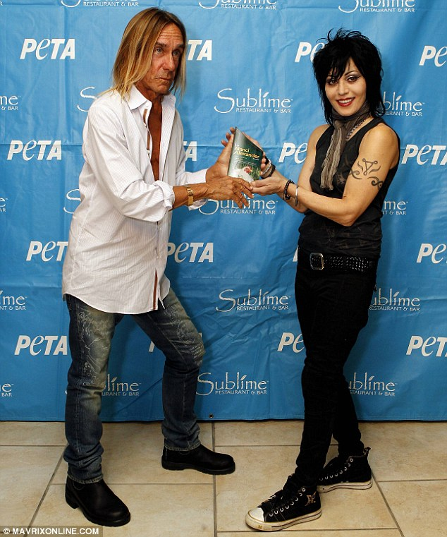 Honoured: Iggy presented Joan Jett with the Nanci Alexander Activist Award, named after PETA's founder