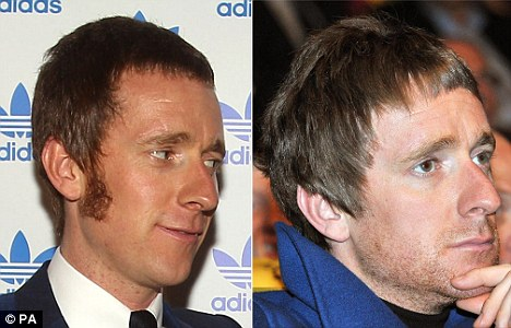New look: Wiggins has shaved his sideburns (right) to avoid fans' attention