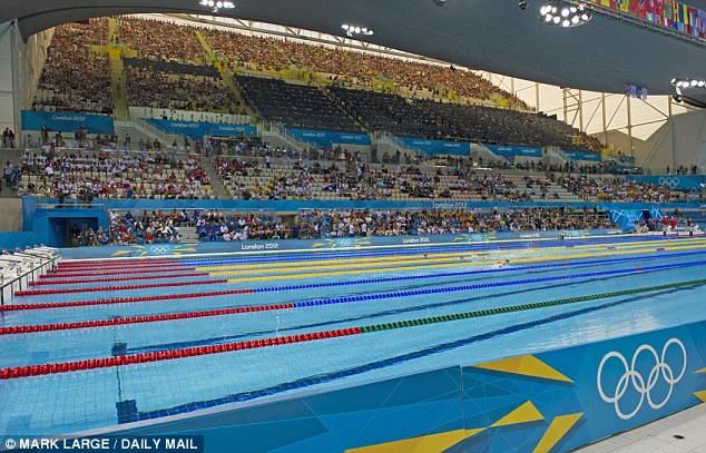 The 17,000 seat Aquatics Centre is being transformed to a more modest community pool seating 2,500 people
