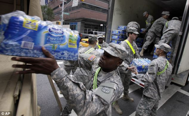 Members of National Guard have been handout supplies throughout storm-ravaged parts of New York
