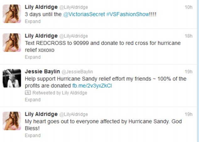 Victoria¿s Secret Angel Lily Aldridge has been tweeting her excitement about the forthcoming fashion show and the relief effort in New York