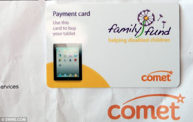 The gift card donated by the family Fund charity which has been rejected by Comet much to the Horton family's disappointment