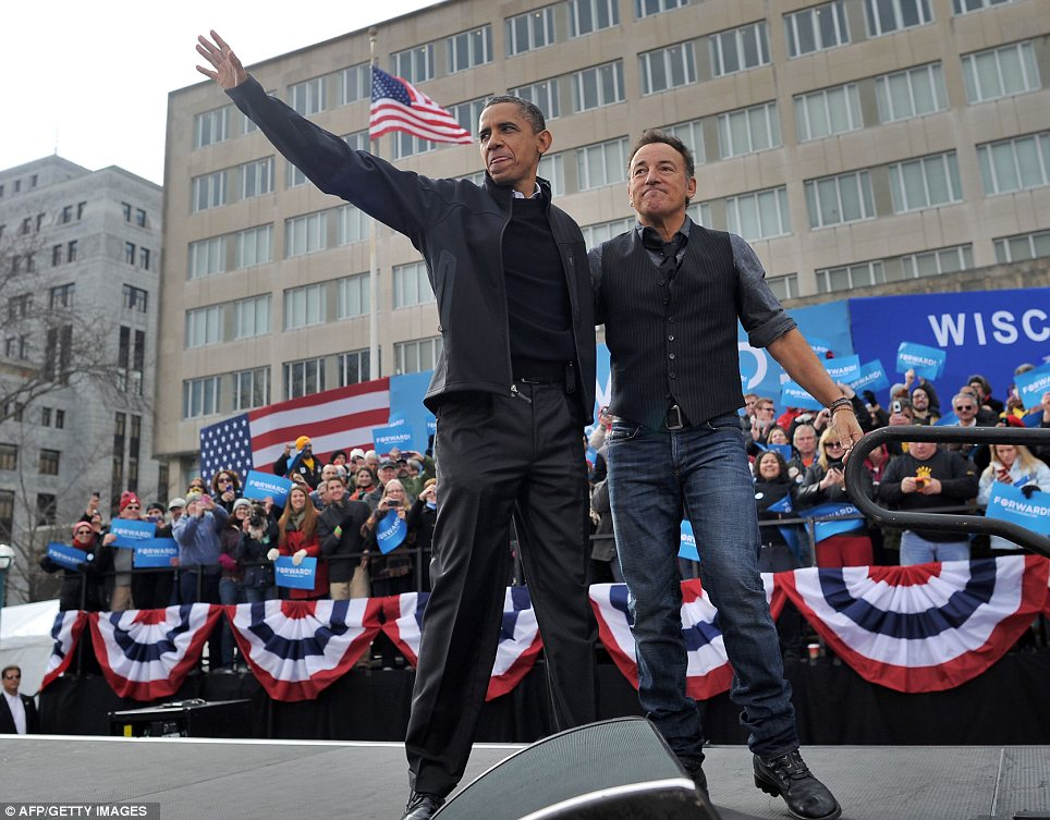 Celebrity fan: Obama appeared at a campaign event with famed rocker Bruce Springsteen on Monday